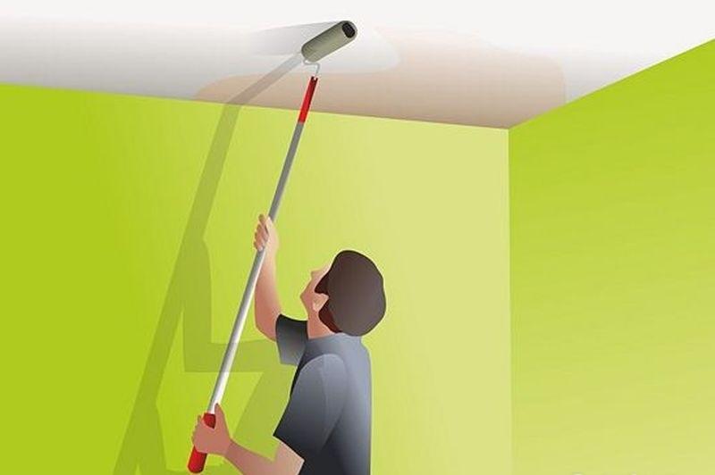 Как выполнить покраску стен и потолка